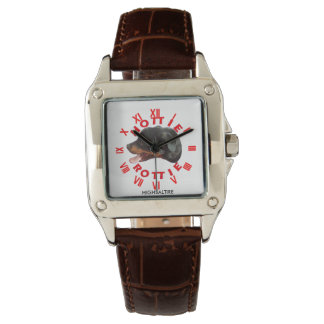 womans Square Brown Leather Strap Watch rottie