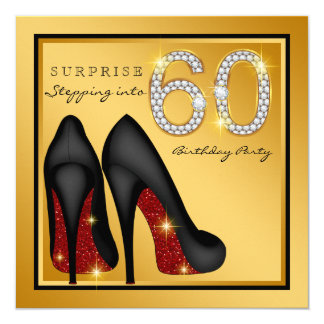 Womans Surprise 60th Birthday Party 13 Cm X 13 Cm Square Invitation Card