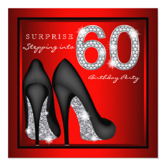 Womans Surprise 60th Birthday Party Red and Silver 13 Cm X 13 Cm Square Invitation Card