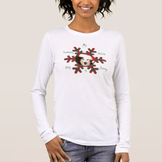Woman's T with Husky in Santa Hat Long Sleeve T-Shirt