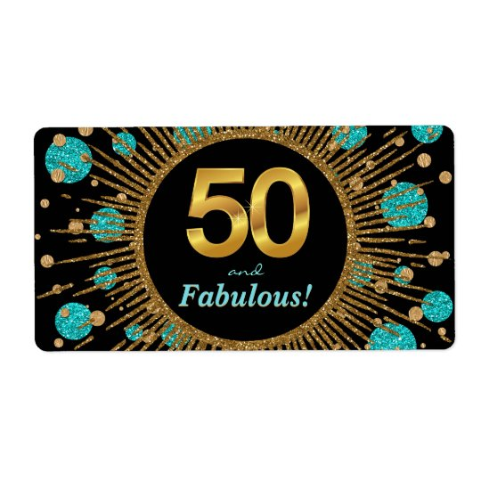 Womans Teal 50th Birthday Party Water Bottle Label