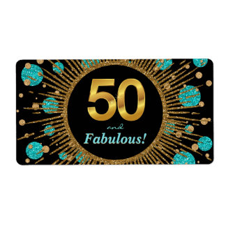 Womans Teal 50th Birthday Party Water Bottle Label Shipping Label