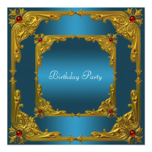 Womans Teal Birthday Party Custom Announcement