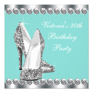 Womans Teal Blue Birthday Party 13 Cm X 13 Cm Square Invitation Card