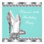 Womans Teal Blue Birthday Party Personalized Invitation