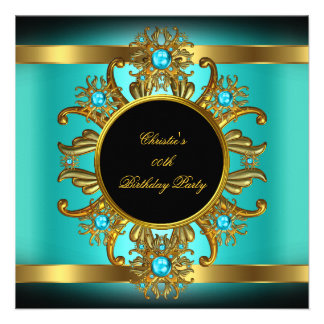 Womans Teal Blue Gold Black Birthday Party Custom Invitation