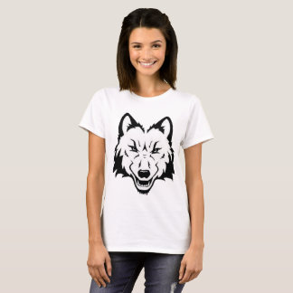 Woman's White Wolf Face T-Shirt