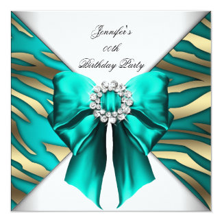 Woman's Zebra Teal Silver Birthday Party 13 Cm X 13 Cm Square Invitation Card