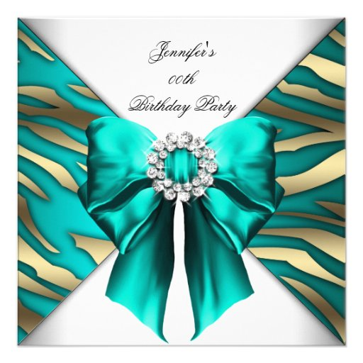 Woman's Zebra Teal Silver Birthday Party Announcement