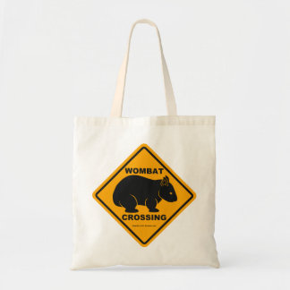 Wombat Crossing Sign Tote Bags
