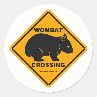 Wombat Crossing Sign Round Sticker