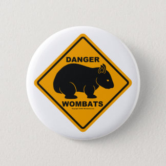 Wombat Danger Road Sign 6 Cm Round Badge