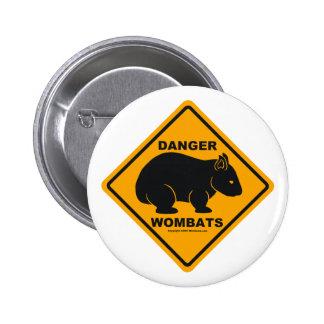 Wombat Danger Road Sign 6 Cm Round Badge