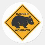 Wombat Danger Road Sign Classic Round Sticker