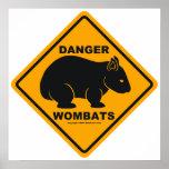 Wombat Danger Road Sign Print