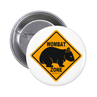 Wombat Zone Sign 6 Cm Round Badge