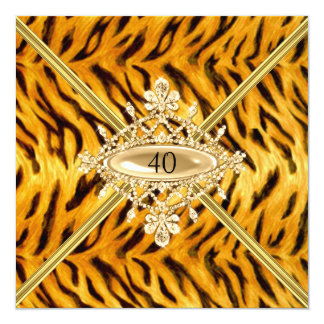 Women 40th Birthday Party Bengal Tiger effect 13 Cm X 13 Cm Square Invitation Card