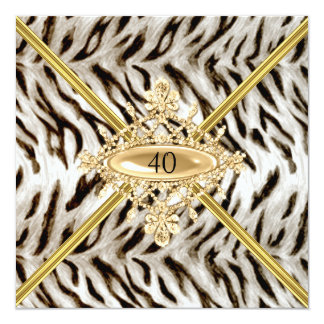 Women 40th Birthday Party White Tiger effect 13 Cm X 13 Cm Square Invitation Card