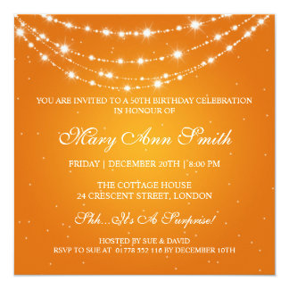 Women 50th Birthday Party Sparkling Chain Orange Card