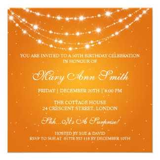 Women 50th Birthday Party Sparkling Chain Orange Personalized Announcement