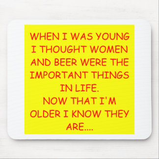 women and beer mouse pad