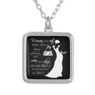 Women and cat quote silver plated necklace