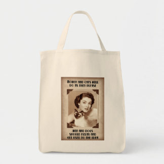WOMEN AND CATS Do As They Please Grocery Tote Canvas Bag