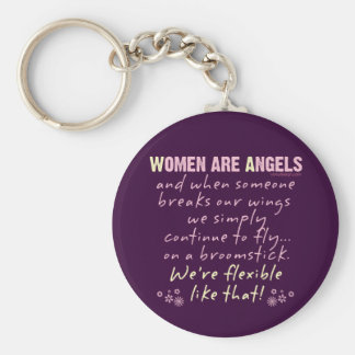 Women are Angels Basic Round Button Key Ring