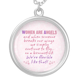 Women are Angels Silver Plated Necklace