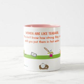 WOMEN ARE LIKE TEABAGS Two-Tone COFFEE MUG