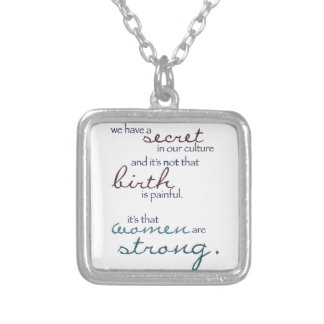 women are strong silver plated necklace