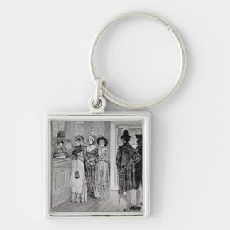 Women at the Polls in New Jersey Silver-Colored Square Key Ring