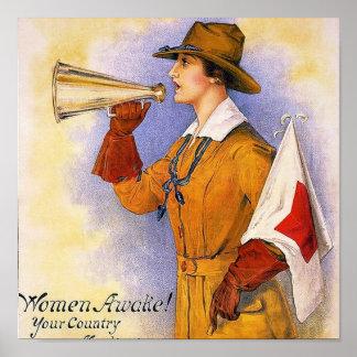 Women Awake!~ Vintage World War 1. Poster