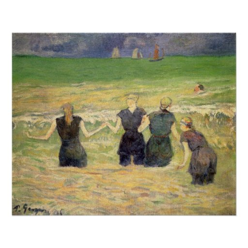 Women Bathing Dieppe by Paul Gauguin Poster