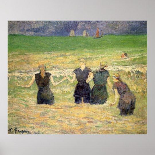 Women Bathing Dieppe by Paul Gauguin Poster