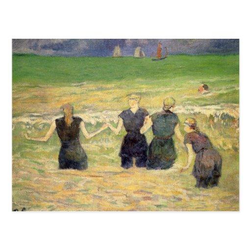 Women Bathing Dieppe, Gauguin, Post Impressionism Postcards