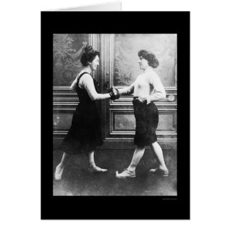 Women Boxing Match 1912 Greeting Card