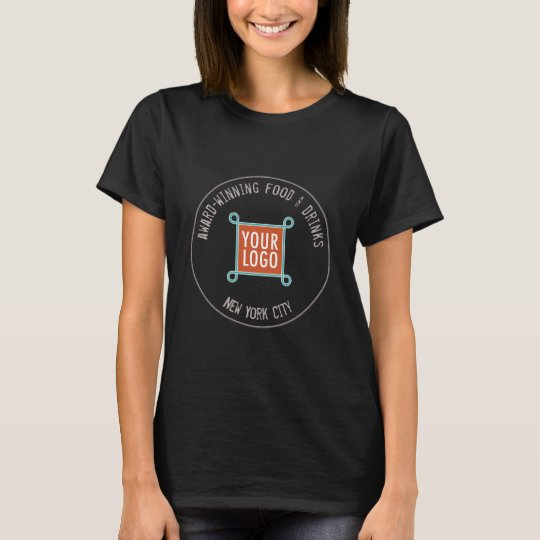 Women Company Logo T-Shirt for Restaurant Bar Cafe