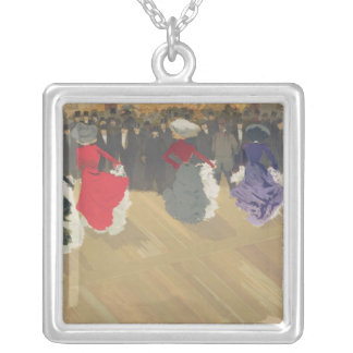 Women Dancing the Can-Can Silver Plated Necklace