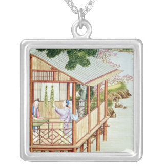 Women doing domestic work silver plated necklace