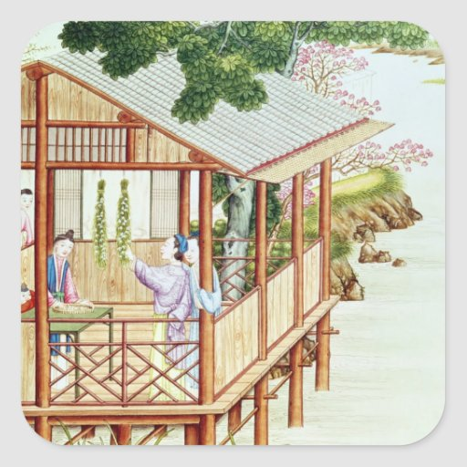 Women doing domestic work square stickers