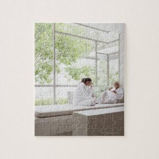 Women drinking tea in window puzzle