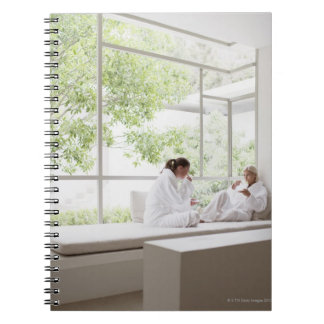Women drinking tea in window spiral notebook