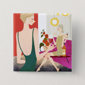 Women Drinking Wine 15 Cm Square Badge