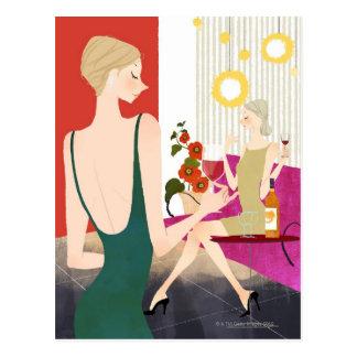 Women Drinking Wine Postcard