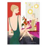 Women Drinking Wine Postcards