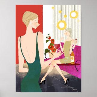 Women Drinking Wine Poster