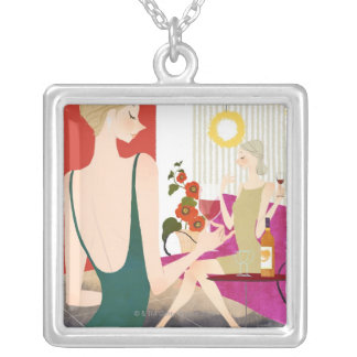Women Drinking Wine Silver Plated Necklace