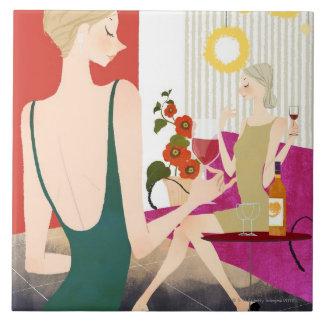 Women Drinking Wine Tile