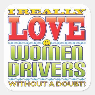 Women Drivers Love Face Square Sticker